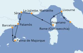 Itinerario de crucero Mediterráneo 8 días a bordo del Seabourn Odyssey