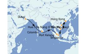 Itinerario de crucero Asia 18 días a bordo del Queen Mary 2