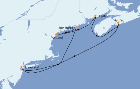 Itinerario del crucero Canadá 7 días a bordo del Norwegian Breakaway