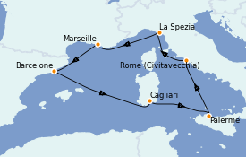 Itinerario de crucero Mediterráneo 8 días a bordo del Costa Pacifica