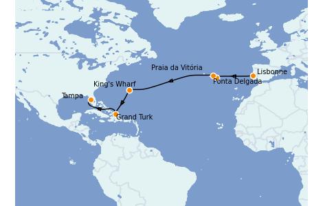 Itinerario del crucero Islas Canarias 13 días a bordo del Carnival Pride