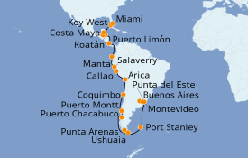 Itinerario de crucero Norteamérica 35 días a bordo del Seven Seas Navigator