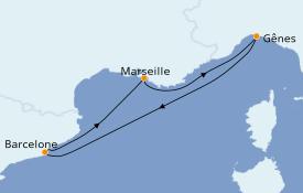 Itinerario de crucero Mediterráneo 4 días a bordo del MSC Virtuosa