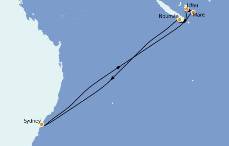 Itinerario del crucero Australia 2022 8 días a bordo del Carnival Splendor