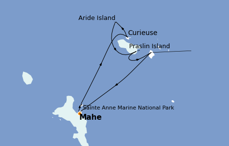 Itinerario del crucero Océano Índico 8 días a bordo del Le Bellot