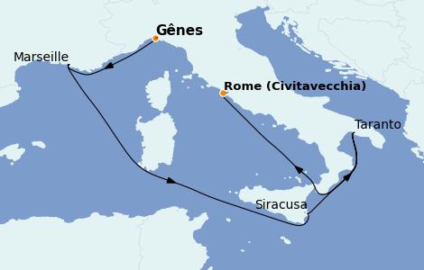 Itinerario del crucero Mediterráneo 6 días a bordo del MSC Splendida