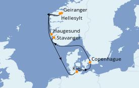 Itinerario de crucero Fiordos y Noruega 8 días a bordo del Costa Diadema