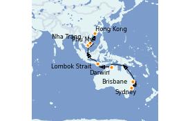 Itinerario de crucero Australia 2022 19 días a bordo del Royal Princess