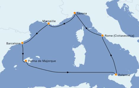Itinerario del crucero Mediterráneo 7 días a bordo del Costa Smeralda