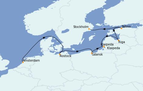 Itinerario del crucero Mar Báltico 7 días a bordo del Norwegian Dawn