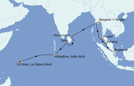 Itinerario del crucero Asia 18 días a bordo del Silver Shadow