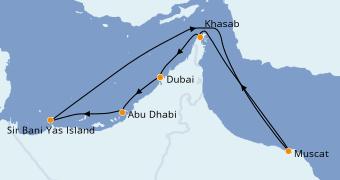 Itinerario de crucero Dubái 8 días a bordo del MSC Lirica