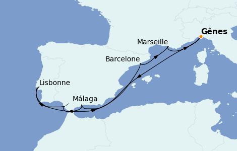 Itinerario del crucero Mediterráneo 9 días a bordo del MSC Virtuosa