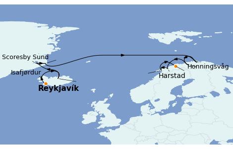 Itinerario del crucero Fiordos y Noruega 12 días a bordo del Norwegian Star