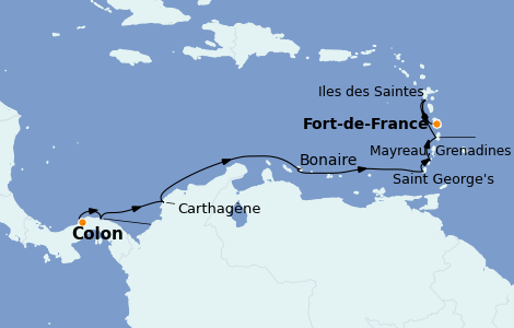Itinerario del crucero Caribe del Este 12 días a bordo del Le Bellot