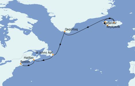 Itinerario del crucero Exploración polar 12 días a bordo del Celebrity Summit