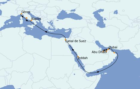 Itinerario del crucero Trasatlántico y Grande Viaje 2023 18 días a bordo del MSC World Europa