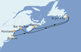 Itinerario de crucero Canadá 8 días a bordo del Brilliance of the Seas