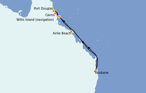 Itinerario del crucero Australia 2022 7 días a bordo del Coral Princess