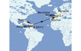 Itinerario de crucero Trasatlántico y Grande Viaje 2022 18 días a bordo del MSC Armonia