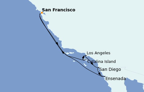 Itinerario del crucero California 7 días a bordo del Ruby Princess