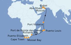 Itinerario de crucero Dubái 21 días a bordo del Norwegian Dawn
