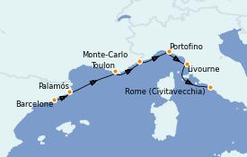 Itinerario de crucero Mediterráneo 8 días a bordo del Azamara Pursuit