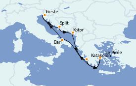 Itinerario de crucero Grecia y Adriático 8 días a bordo del Costa Deliziosa