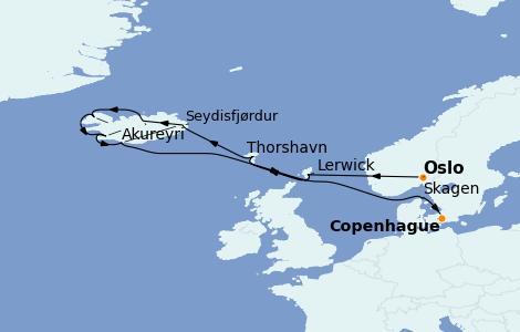 Itinerario del crucero Exploración polar 13 días a bordo del Azamara Pursuit