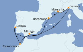 Itinerario de crucero Mediterráneo 10 días a bordo del MSC Preziosa