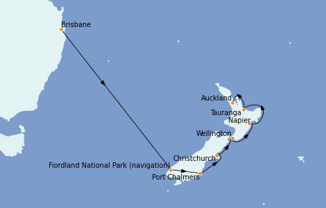 Itinerario del crucero Australia 2022 10 días a bordo del Coral Princess