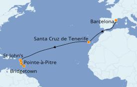 Itinerario de crucero Trasatlántico y Grande Viaje 2020 14 días a bordo del Costa Favolosa