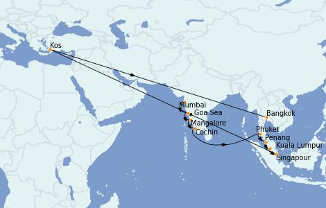 Itinerario del crucero Asia 14 días a bordo del Nautica