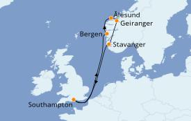 Itinerario de crucero Fiordos y Noruega 8 días a bordo del Celebrity Silhouette
