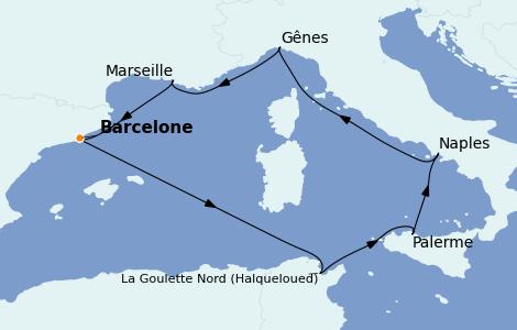 Itinerario del crucero Mediterráneo 7 días a bordo del MSC Opera