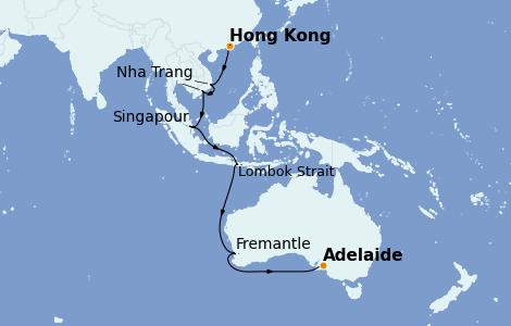 Itinerario del crucero Australia 2022 16 días a bordo del Sapphire Princess