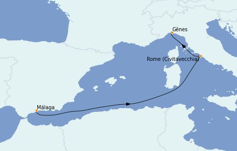 Itinerario del crucero Mediterráneo 3 días a bordo del MSC Splendida