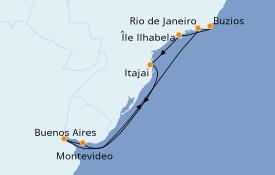 Itinerario de crucero Suramérica 10 días a bordo del MSC Sinfonia