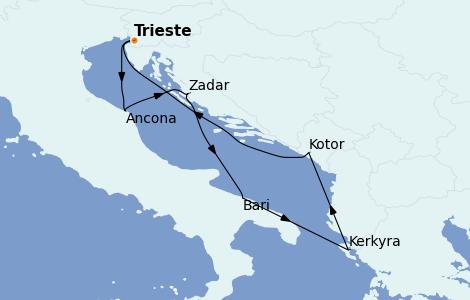 Itinerario del crucero Grecia y Adriático 7 días a bordo del MSC Fantasia