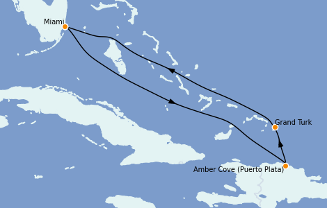Itinerario del crucero Caribe del Este 5 días a bordo del Carnival Celebration