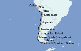 Itinerario de crucero Norteamérica 15 días a bordo del Silver Whisper