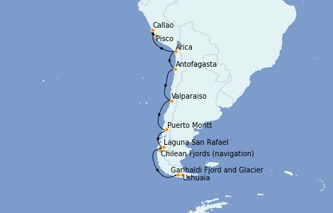 Itinerario del crucero Norteamérica 14 días a bordo del Silver Whisper
