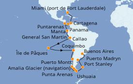 Itinerario de crucero Suramérica 39 días a bordo del Island Princess