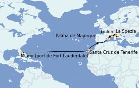 Itinerario de crucero Trasatlántico y Grande Viaje 2022 15 días a bordo del Celebrity Reflection