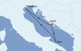 Itinerario de crucero Mediterráneo 4 días a bordo del Costa Mediterranea