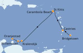 Itinerario de crucero Caribe del Este 8 días a bordo del Seabourn Odyssey