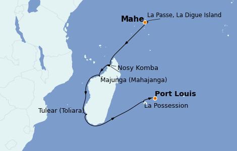 Itinerario del crucero Océano Índico 15 días a bordo del Le Bougainville