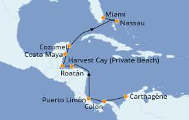 Itinerario de crucero Caribe del Oeste 12 días a bordo del Seven Seas Navigator