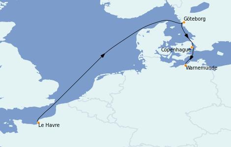 Itinerario del crucero Mar Báltico 4 días a bordo del MSC Poesia