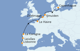 Itinerario de crucero Mediterráneo 9 días a bordo del Costa Fascinosa